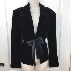 JS Collections Velvet Blazer With Bow